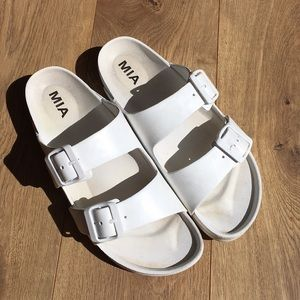 White Birkenstock type sandals